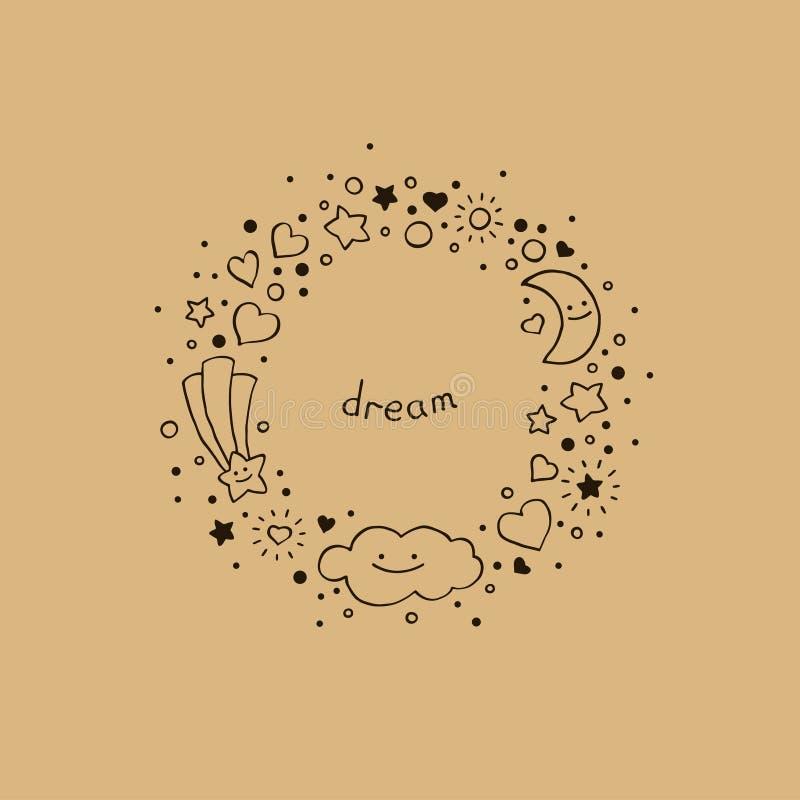 Fond abstrait mignon dans le style tiré par la main Cadre rond avec le nuage, les étoiles, les coeurs, la comète et le croissant  illustration de vecteur