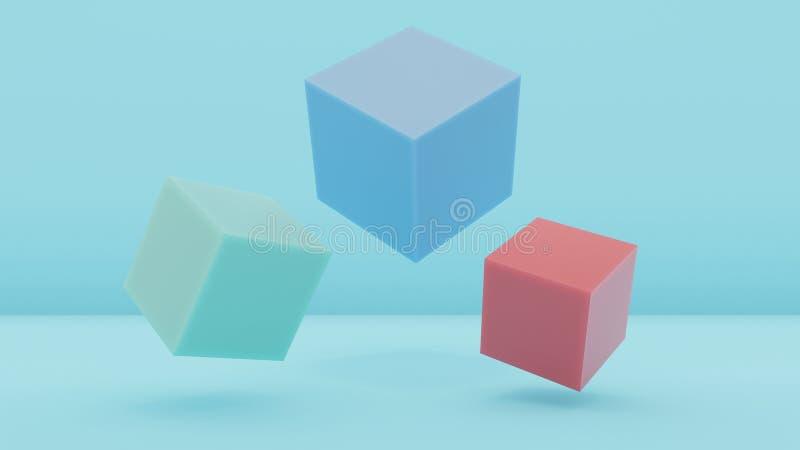 fond abstrait minimal Trois cubes sur le fond bleu Cube en turquoise, cube bleu, cube rouge 3d rendez illustration libre de droits
