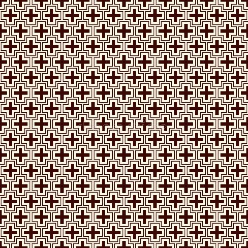 Fond abstrait minimaliste Copie moderne simple avec des croix Modèle sans couture d'ensemble avec les chiffres géométriques illustration stock