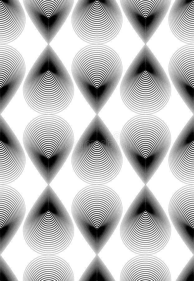 Fond abstrait monochrome de vecteur fleuri avec les lignes noires S illustration libre de droits