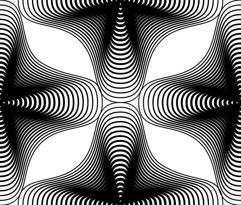Fond abstrait monochrome de vecteur fleuri avec les lignes noires S illustration de vecteur