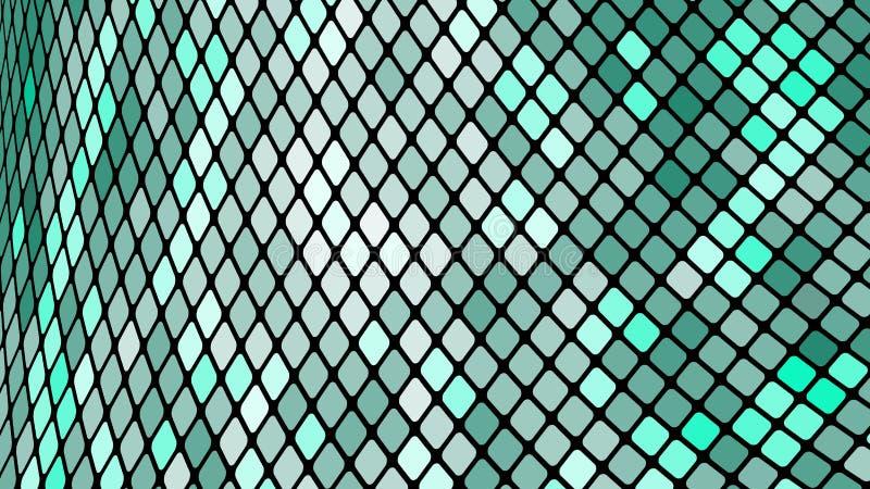 Fond abstrait multicolore des places vertes, losanges, tuiles de rectangles, mosaïque avec des coutures d'énergie magique rougeoy illustration libre de droits