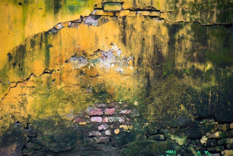 Fond abstrait, mur de briques jaune image stock