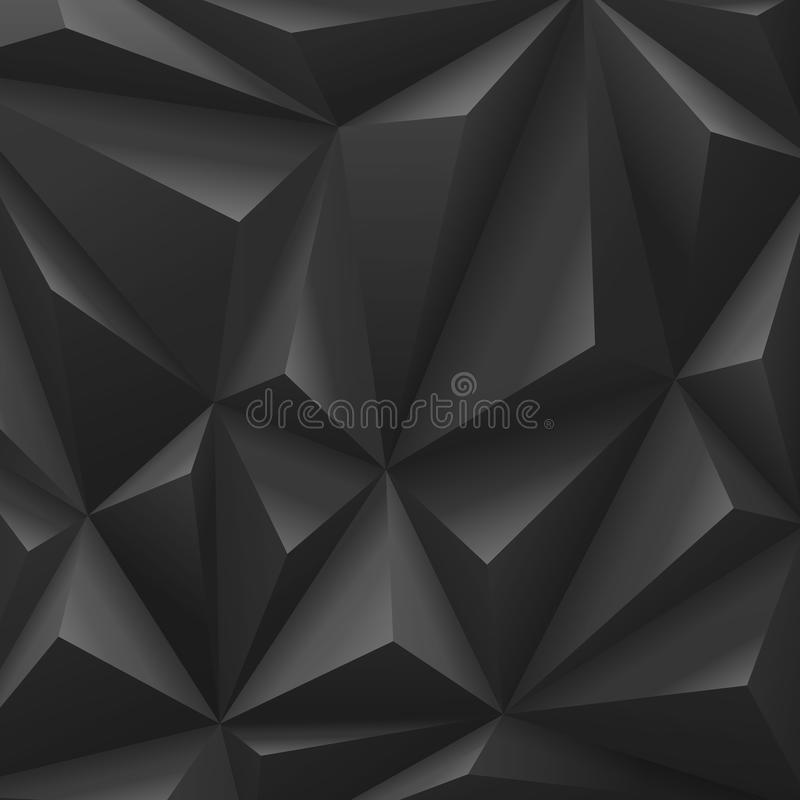 Fond abstrait noir de carbone de polygone. illustration libre de droits