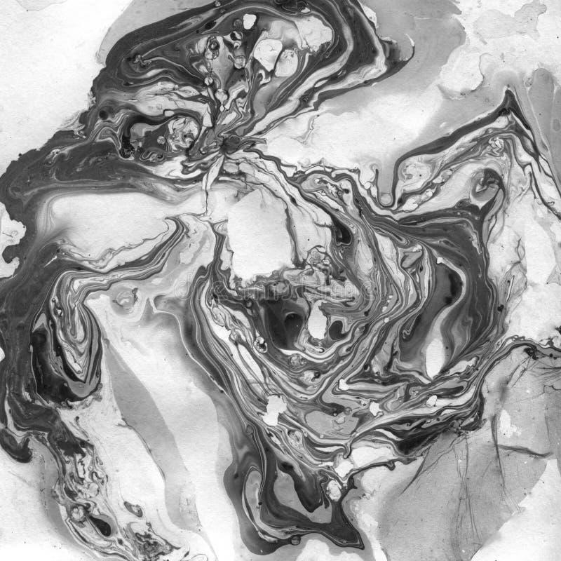 Fond abstrait noir et blanc marbré Illistration de marbre liquide photographie stock