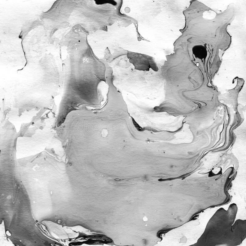 Fond abstrait noir et blanc marbré Illistration de marbre liquide images libres de droits