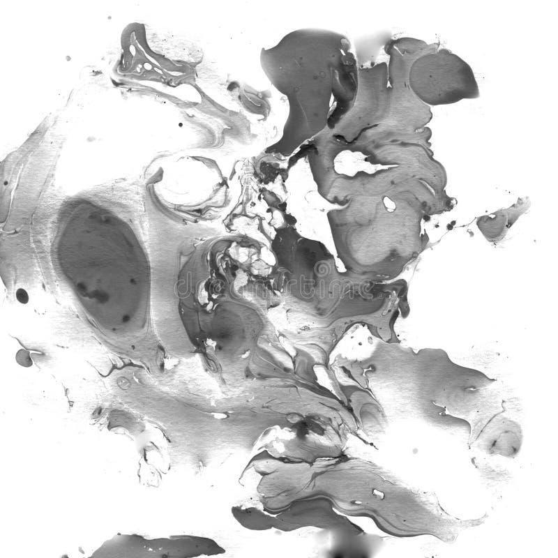 Fond abstrait noir et blanc marbré Illistration de marbre liquide photos stock