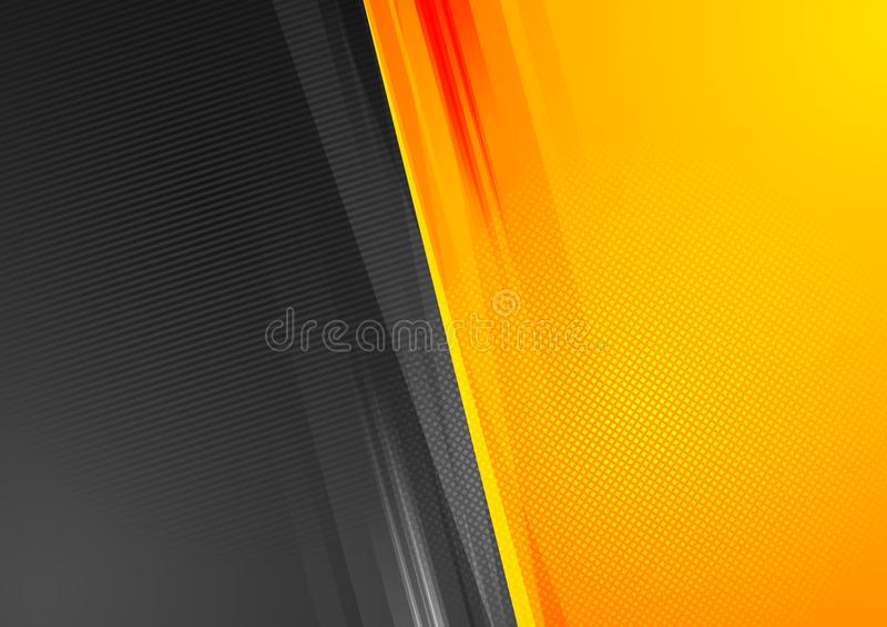 Fond abstrait orange et noir de grunge de technologie illustration libre de droits