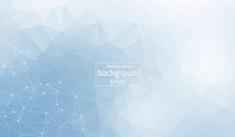 Fond abstrait polygonal Bas poly, molécule et communication avec les points et les lignes reliés Illustration de vecteur illustration de vecteur