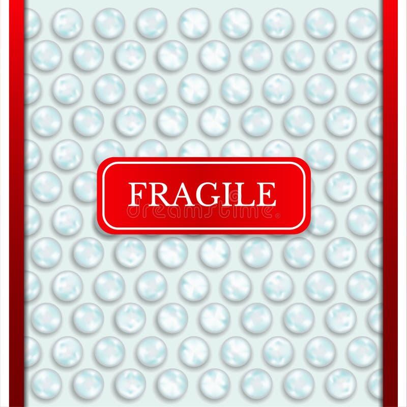 Fond abstrait réaliste de texture d'enveloppe de bulle avec fragile rouge illustration stock