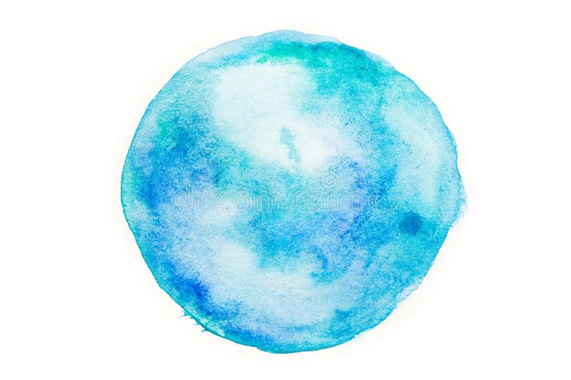 Fond abstrait rond bleu dans le style d'aquarelle photo stock