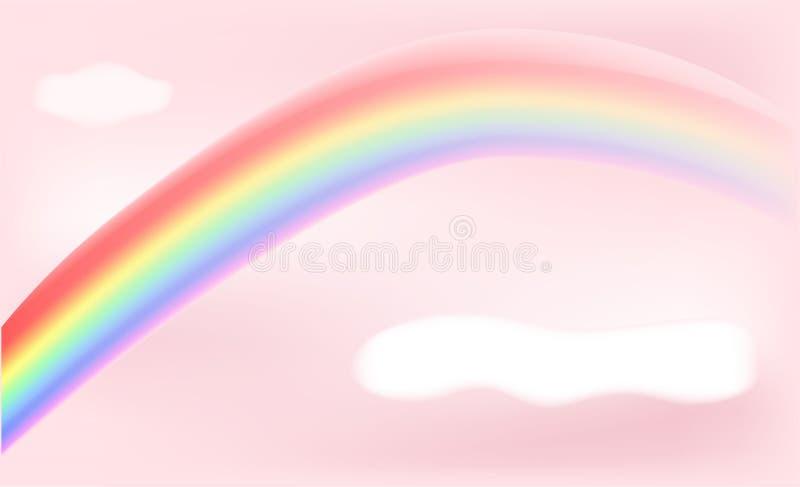 Fond abstrait rose avec le vecteur d'arc-en-ciel et de nuage illustration libre de droits