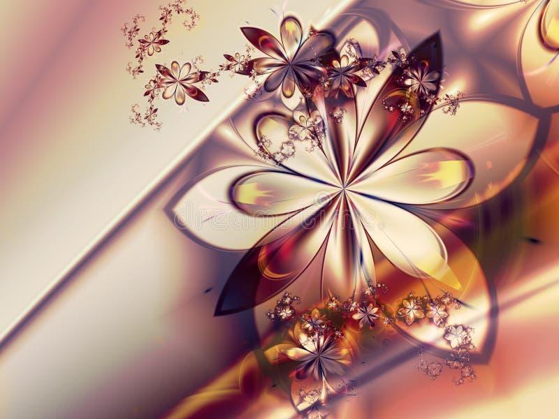 Fond abstrait rouge blanc de fleur de fractale illustration stock