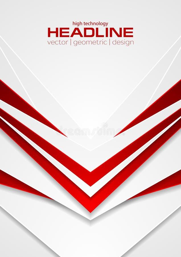 Fond abstrait rouge et blanc d'insecte de flèches de technologie illustration de vecteur