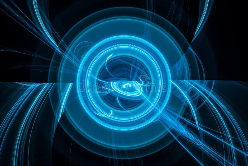 Fond abstrait rougeoyant bleu multidimensionnel de technologie futuriste illustration de vecteur