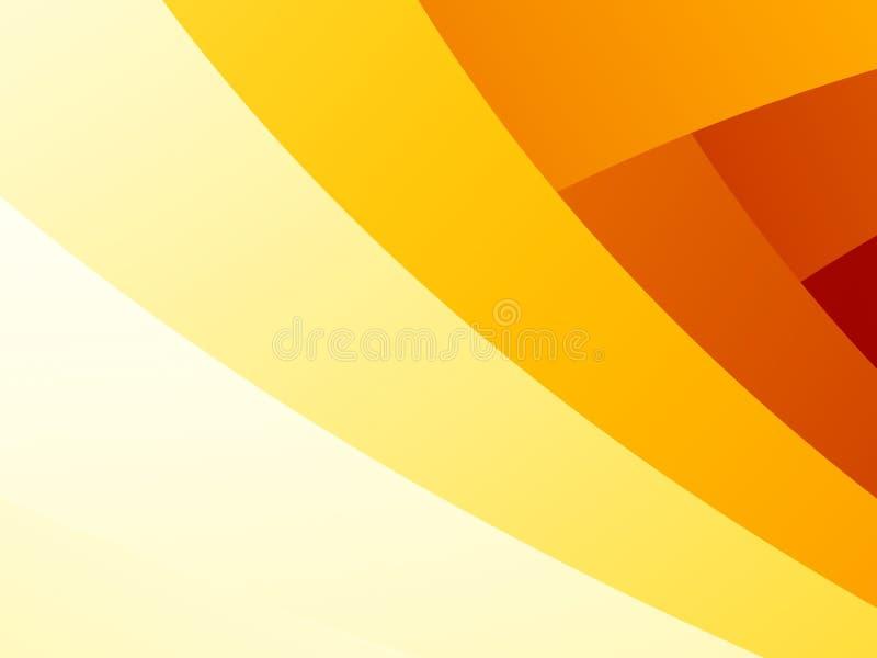 Fond abstrait simple de fractale avec les rayures incurvées de recouvrement de jaune, oranges et rouges illustration libre de droits