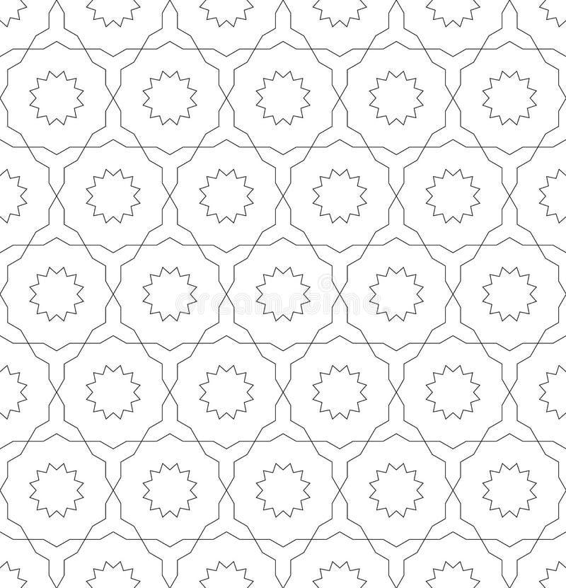 Fond abstrait symétrique sans couture de vecteur dans le style Arabe fait de formes géométriques Modèle traditionnel islamique illustration de vecteur