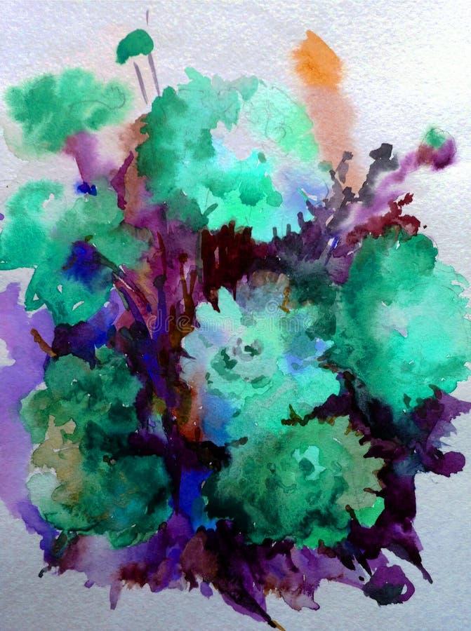 Fond abstrait texturisé lumineux coloré d'aquarelle fait main Bouquet outre de fleur rose illustration de vecteur