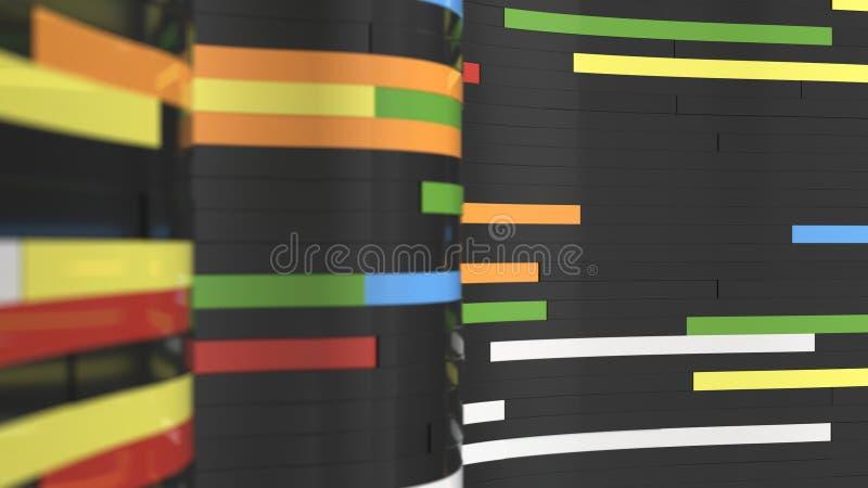 Fond abstrait, vagues des planches noires et colorées illustration libre de droits