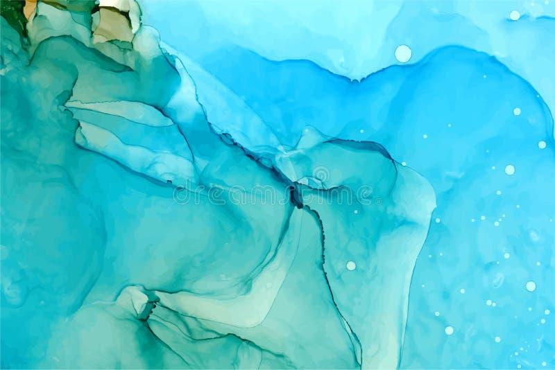 Fond abstrait vectoriel de l'encre d'alcool Texture d'azur couleur saphir illustration de vecteur