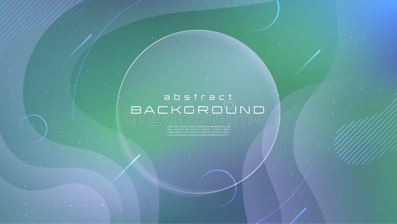 Fond abstrait vert bleu liquide de couleur douce de gradient Le liquide forme le concept futuriste Mouvement créatif géométrique illustration stock