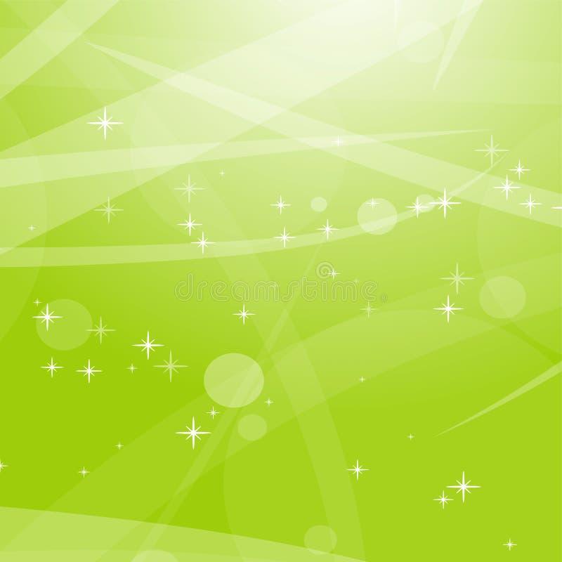 Fond abstrait vert clair avec des étoiles, des cercles et des rayures Illustration plate de vecteur illustration libre de droits