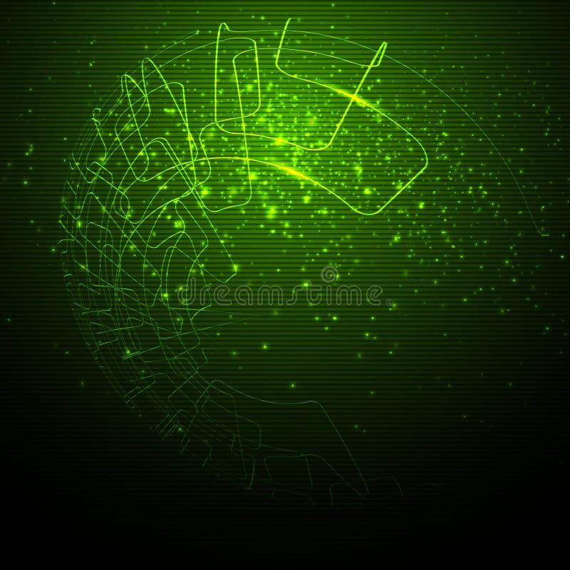 Fond abstrait vert de technologie illustration de vecteur