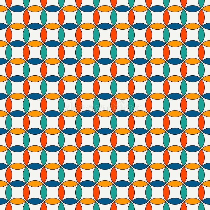 Fond abstrait vif avec les cercles de recouvrement Motif de pétales Modèle sans couture avec l'ornement géométrique classique illustration stock