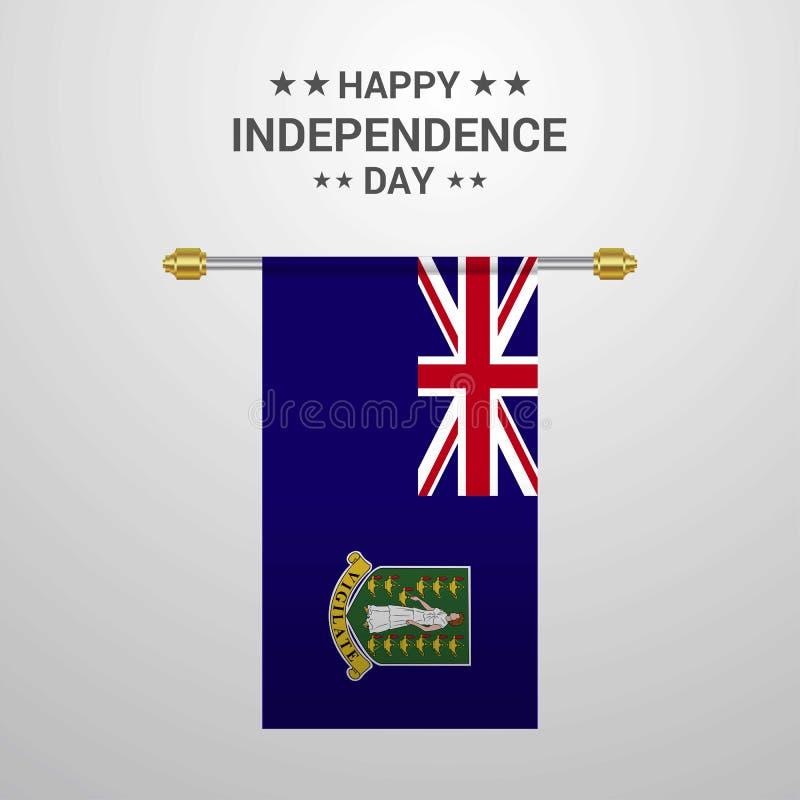 Fond accrochant de drapeau de jour des Îles Vierges Indépendance Britannique illustration de vecteur