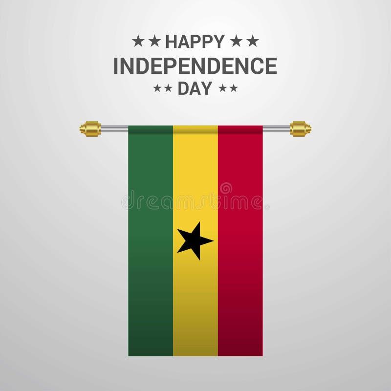 Fond accrochant de drapeau de Jour de la Déclaration d'Indépendance du Ghana illustration de vecteur