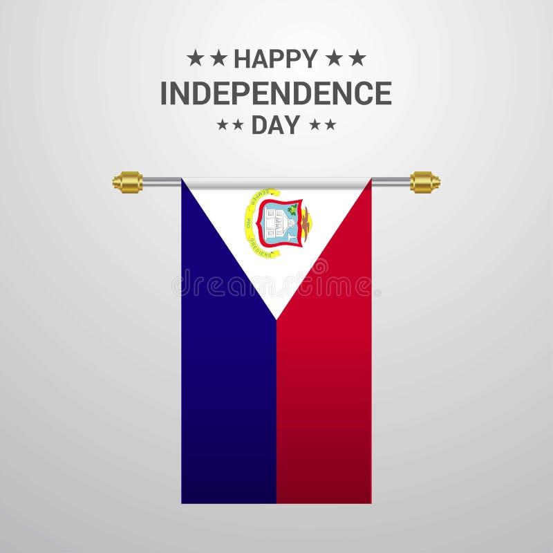 Fond accrochant de drapeau de Jour de la Déclaration d'Indépendance de St Martin illustration libre de droits