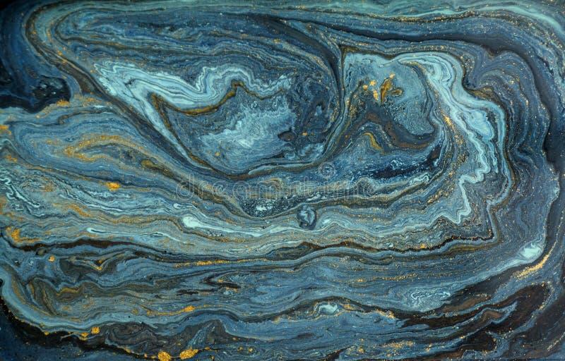 Fond acrylique abstrait de marbre Texture de marbrure bleue d'illustration Modèle d'ondulation d'agate Poudre d'or photo stock