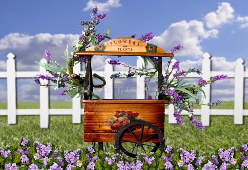Fond adorable d'imagination de chariot de fleur image stock