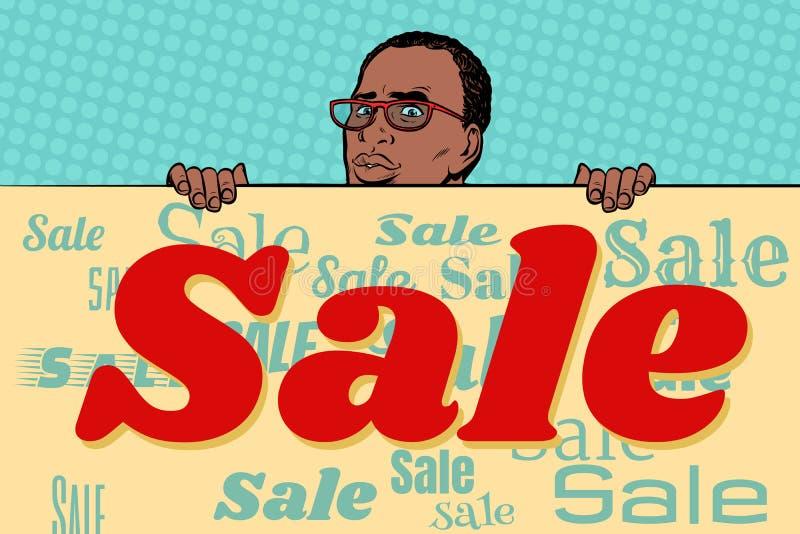 Fond africain d'affiche de vente d'homme d'affaires illustration libre de droits