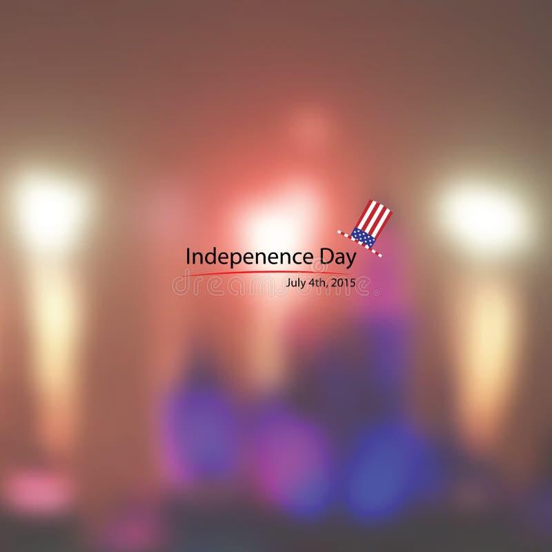 Fond américain de feux d'artifice de Jour de la Déclaration d'Indépendance de chapeau illustration stock