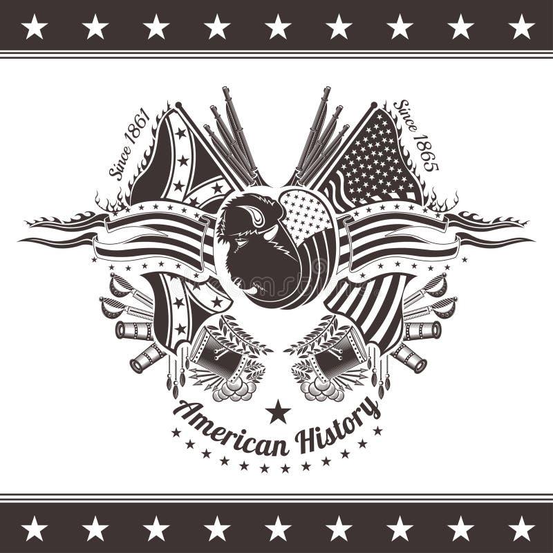 Fond américain de guerre civile avec la tête du bison et des armes illustration libre de droits