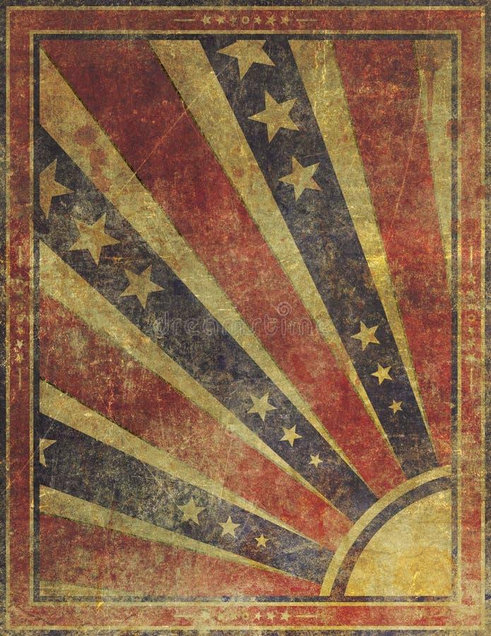 Fond américain grunge fané et porté de bannière étoilée illustration de vecteur