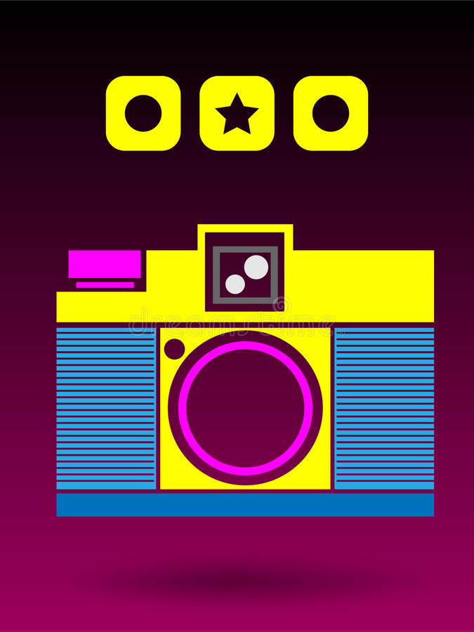 fond analogue Conce d'appareil-photo de Lomo de 2D couleur multi illustration stock