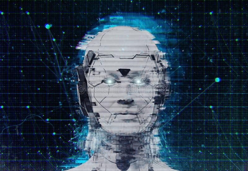 Fond androïde de cyborg de femme de la science fiction de robot de technologie - intelligence artificielle wallpaper-3D de humano illustration de vecteur
