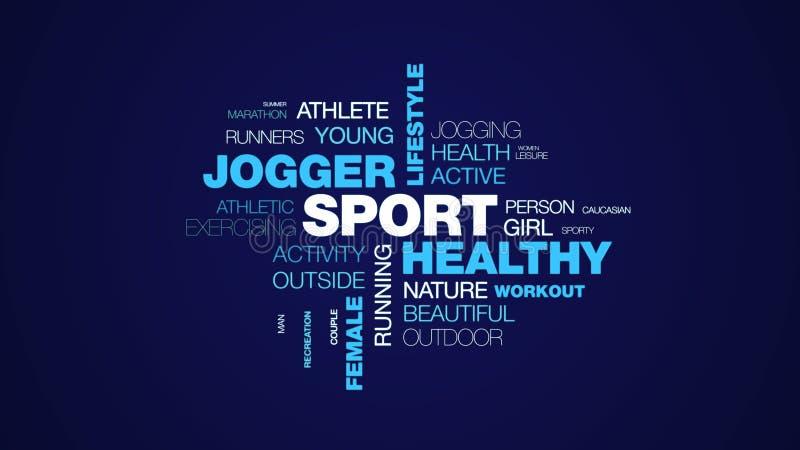 Fond animé de nuage de mot de taqueur de sport de mode de vie de forme physique d'essai d'exercice de personnes féminines convena illustration de vecteur