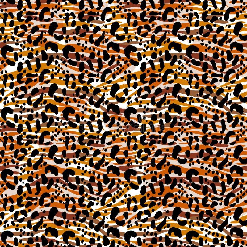 Fond animal floral d'impression de fourrure de modèle sans couture d'illustration de vecteur Style tiré par la main, papier peint image libre de droits