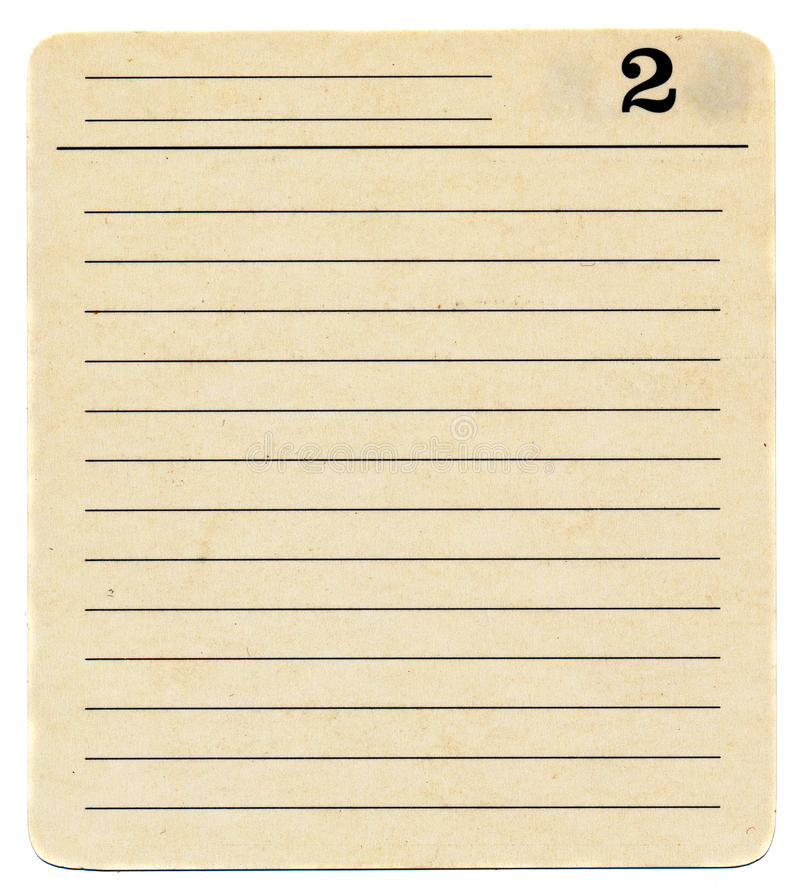 Fond antique d'isolement de papier de fiche avec le numéro deux images stock