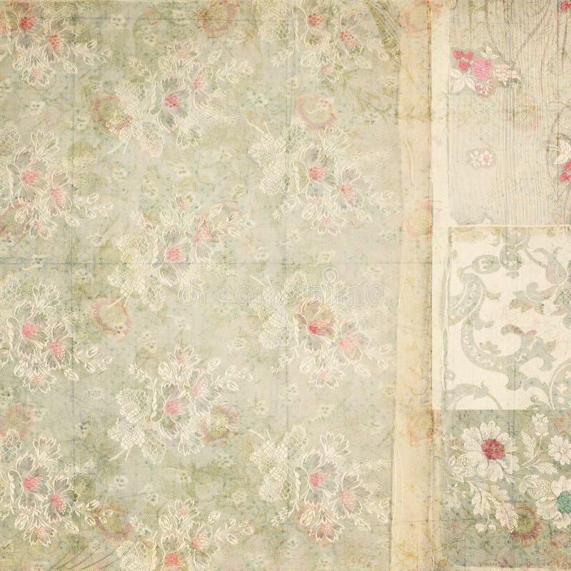 Fond antique de collage de papier peint floral de vintage image stock