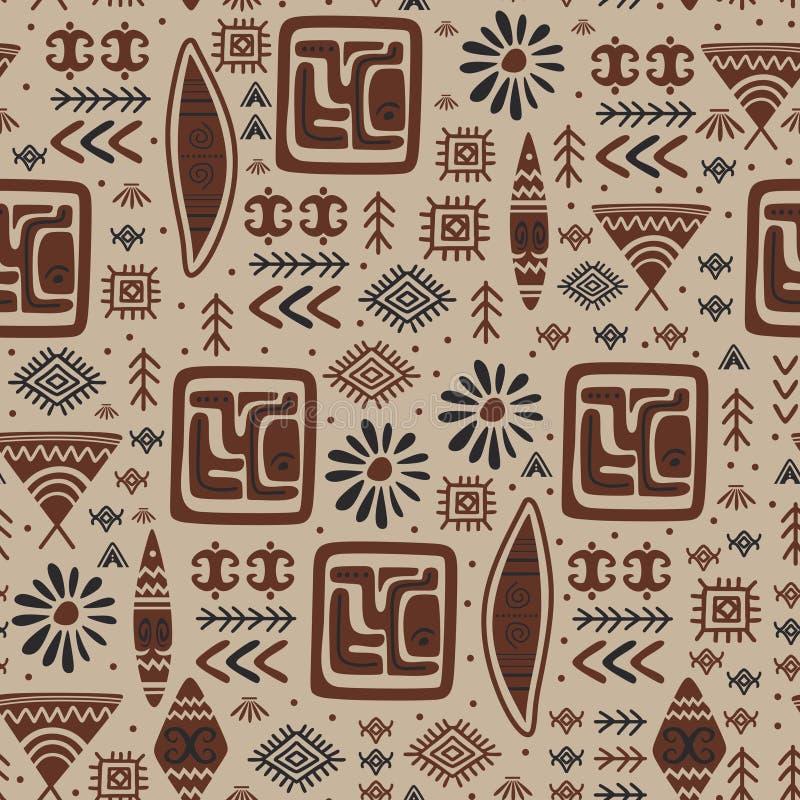 Fond antique tiré par la main tribal de symbole de modèle indien illustration de vecteur