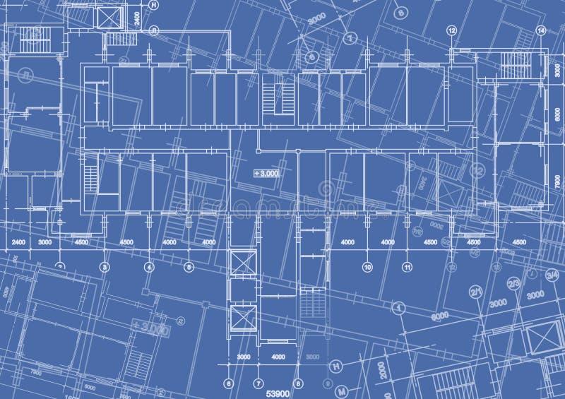 Fond architectural avec les dessins techniques Les modèles prévoient la texture Partie de dessin du projet architectural illustration stock