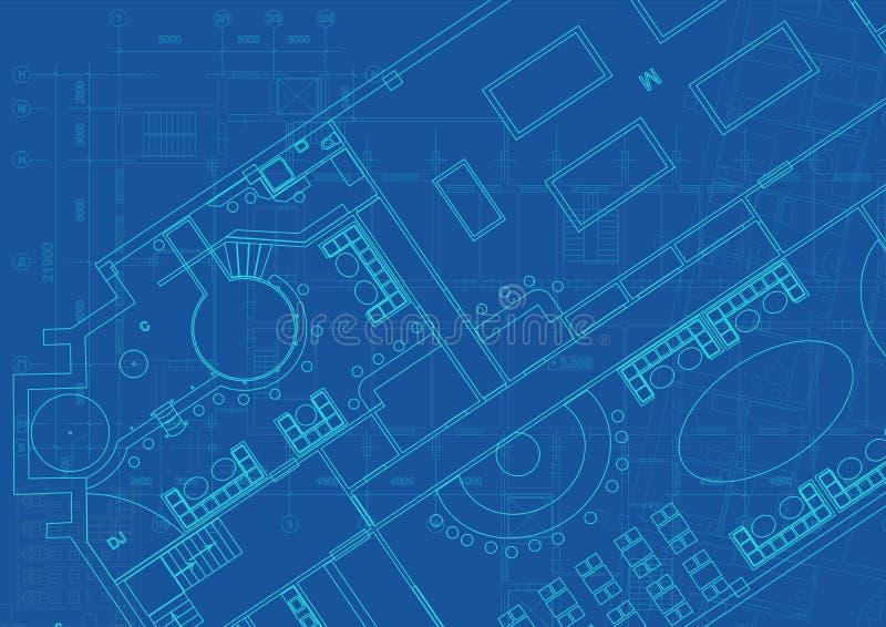 Fond architectural avec les dessins techniques Les mod?les pr?voient la texture Partie de dessin du projet architectural illustration stock