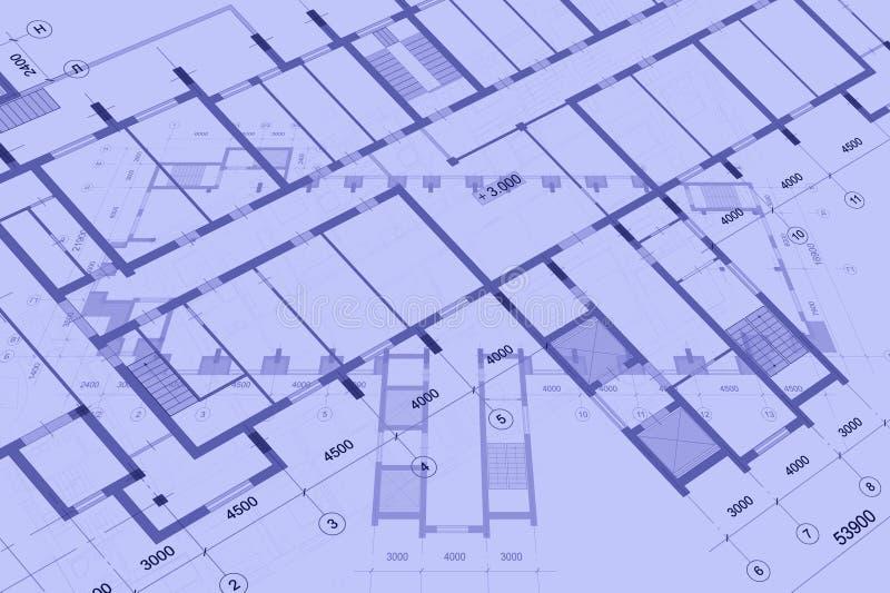 Fond architectural avec les dessins techniques Les mod?les pr?voient la texture Partie de dessin du projet architectural image stock