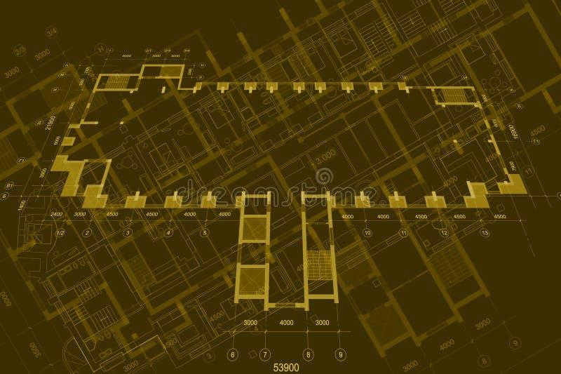 Fond architectural avec les dessins techniques Les mod?les pr?voient la texture Partie de dessin du projet architectural photographie stock libre de droits
