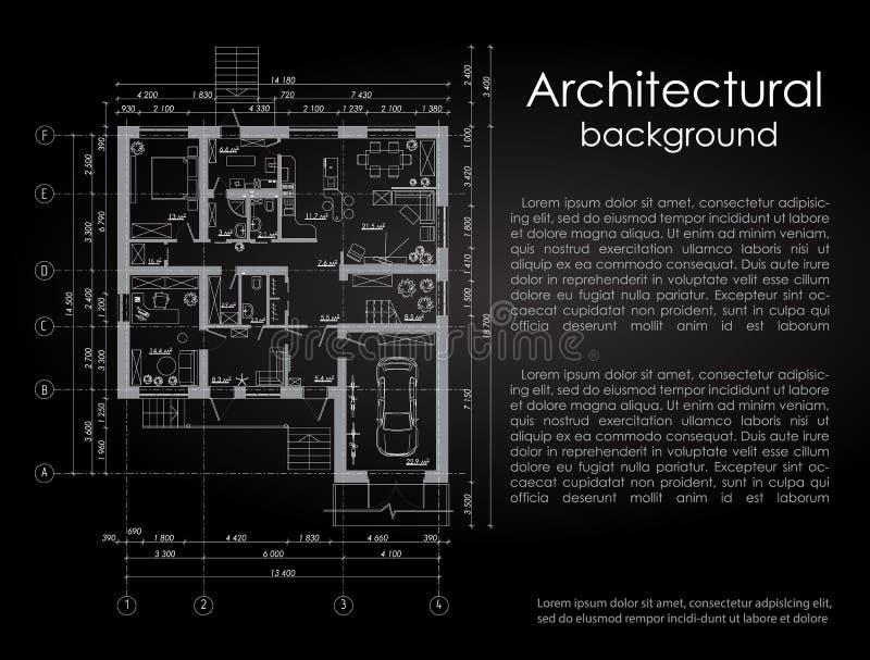 Fond architectural de vecteur Dessin blanc sur un fond noir brochure Dessin d'une maison Disposition de illustration stock