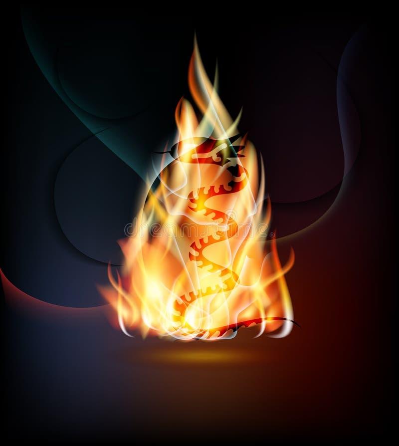 Fond ardent avec le serpent illustration de vecteur